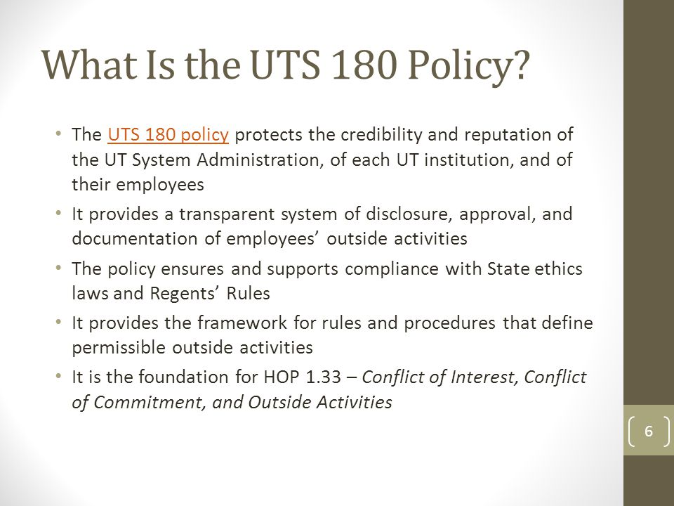 What Is the UTS 180 Policy