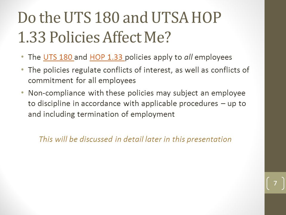 Do the UTS 180 and UTSA HOP 1.33 Policies Affect Me