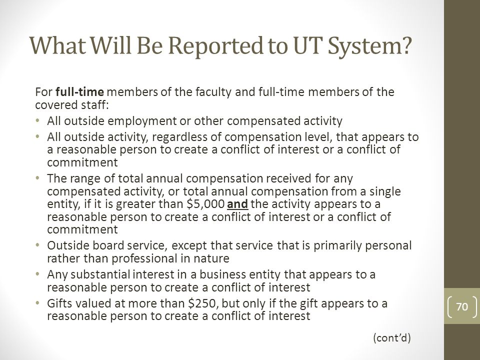 What Will Be Reported to UT System