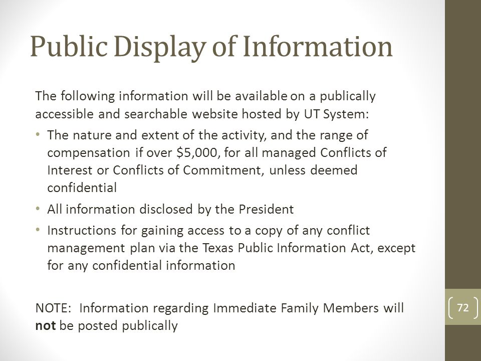 Public Display of Information