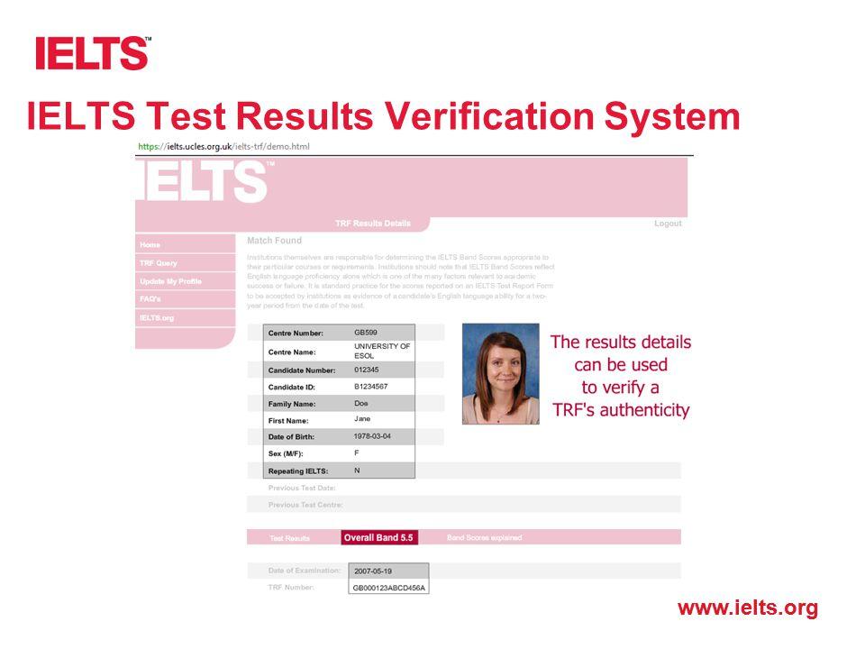 IELTS Test Results Verification System