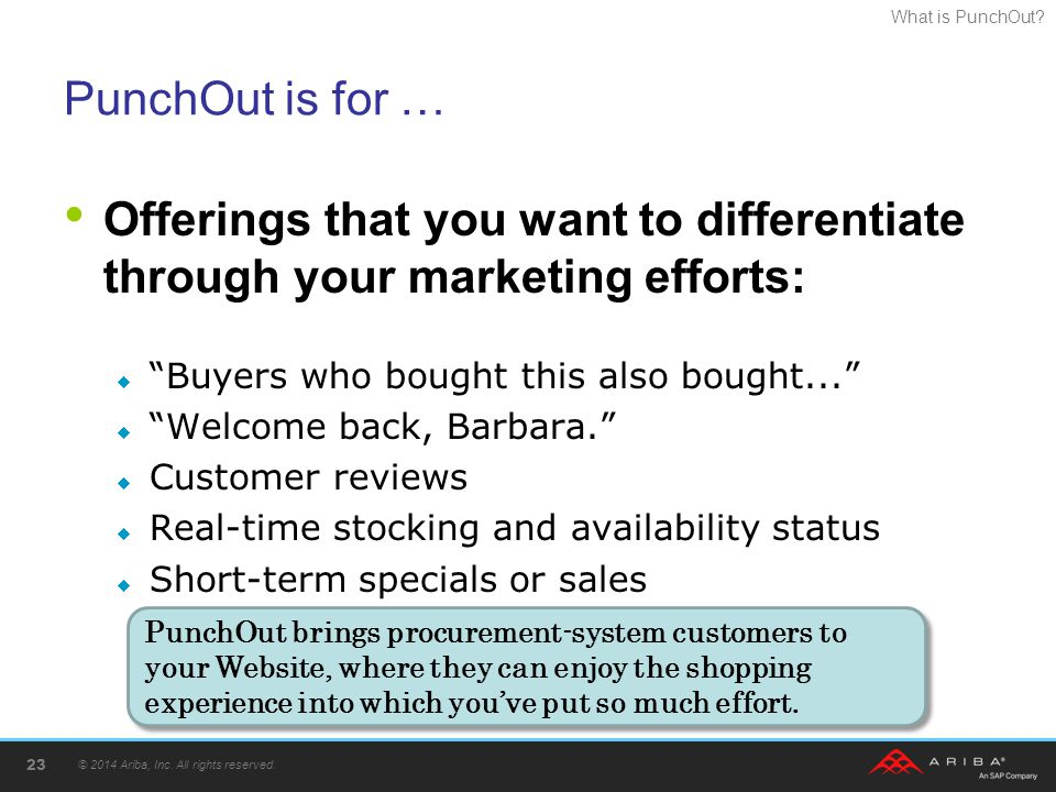 PunchOut is for … Offerings that you want to differentiate through your marketing efforts: Buyers who bought this also bought...