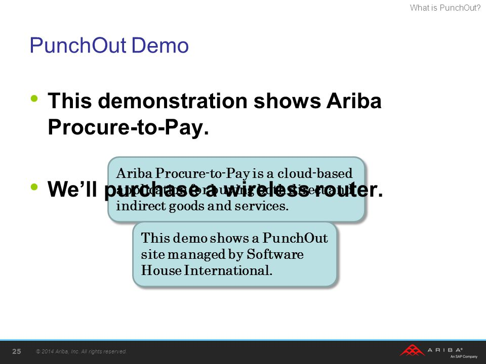 This demonstration shows Ariba Procure-to-Pay.