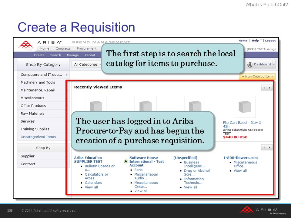 Create a Requisition The first step is to search the local catalog for items to purchase.