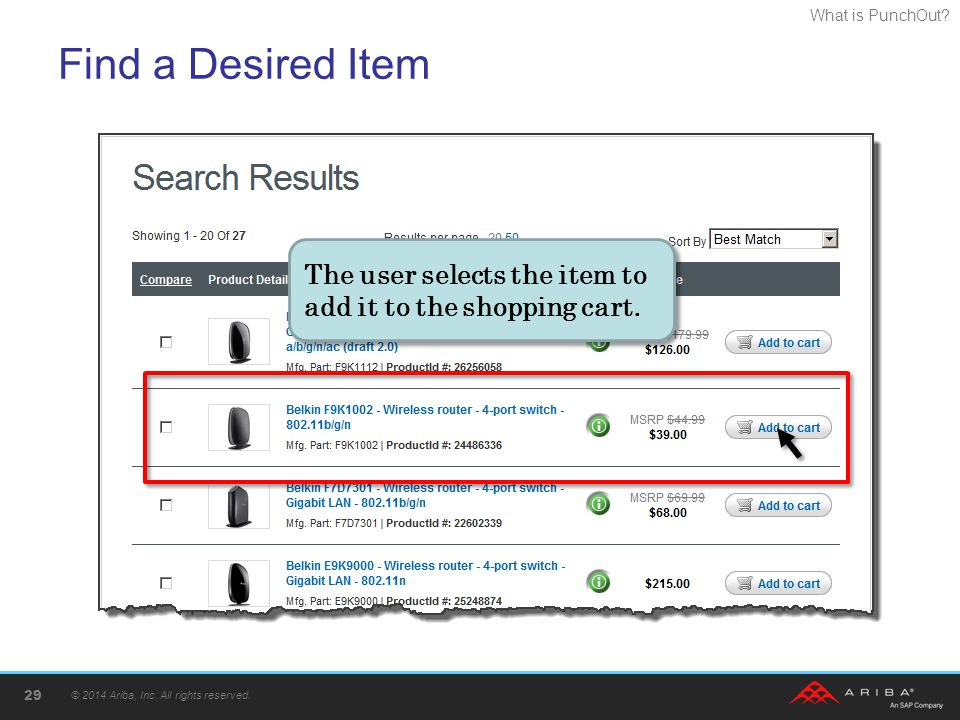 Find a Desired Item The user selects the item to add it to the shopping cart. Searching found the desired item.