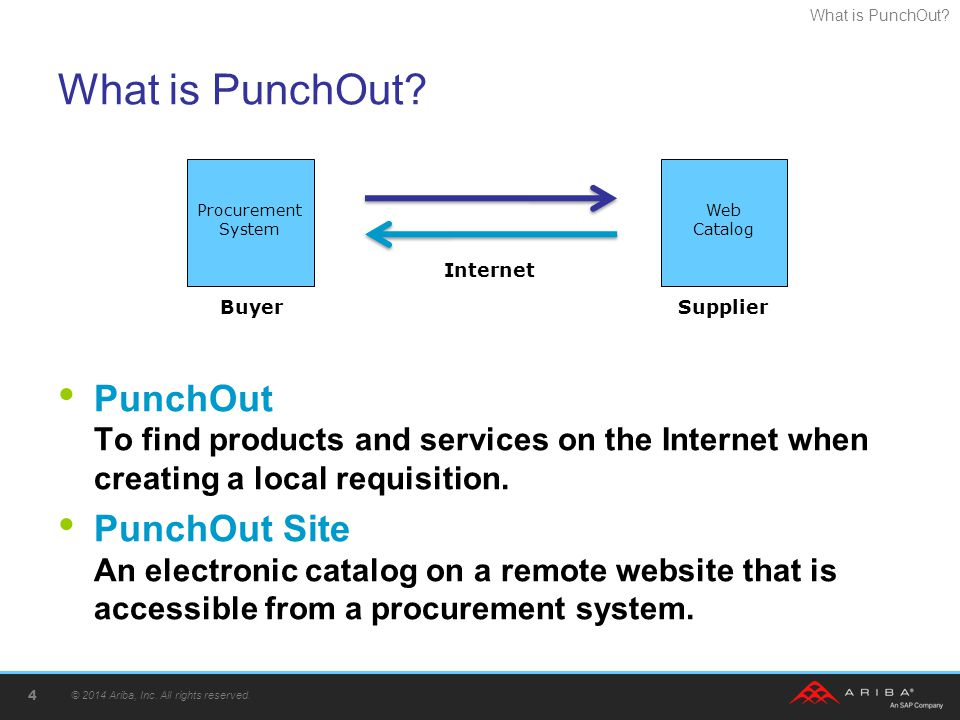 What is PunchOut Procurement System. Web Catalog. PunchOut To find products and services on the Internet when creating a local requisition.