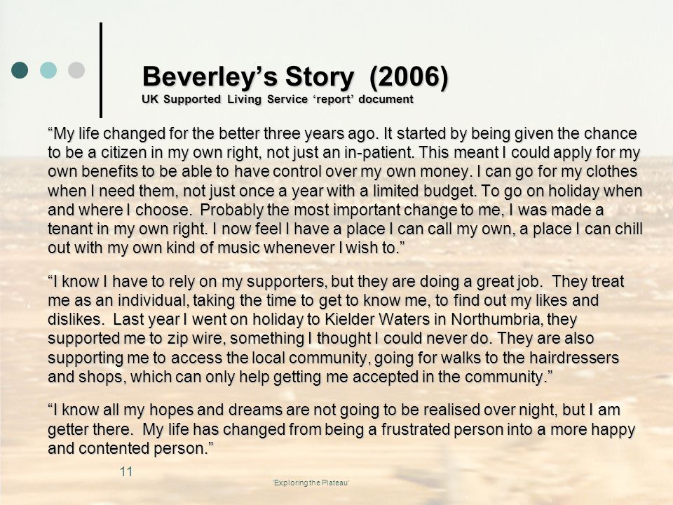 Beverley's Story (2006) UK Supported Living Service 'report' document