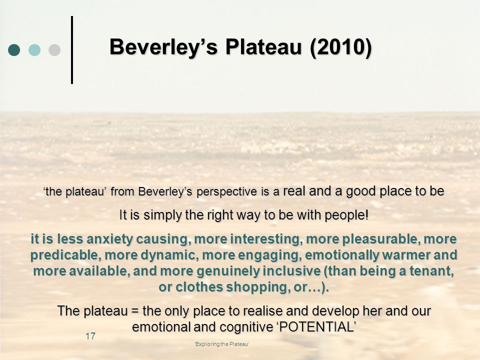 Beverley's Plateau (2010) 'the plateau' from Beverley's perspective is a real and a good place to be.