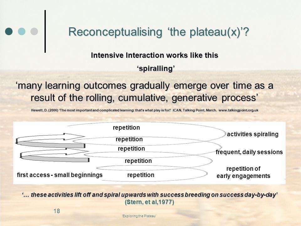 Reconceptualising 'the plateau(x)'