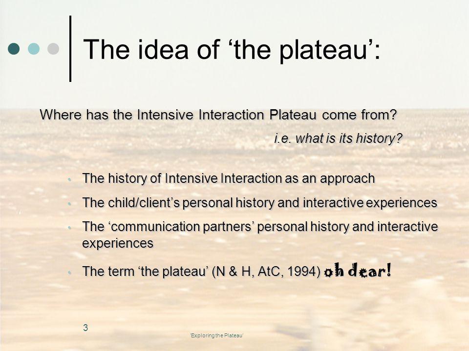 The idea of 'the plateau':