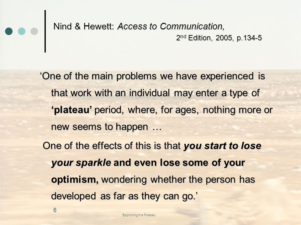 Nind & Hewett: Access to Communication, 2nd Edition, 2005, p.134-5