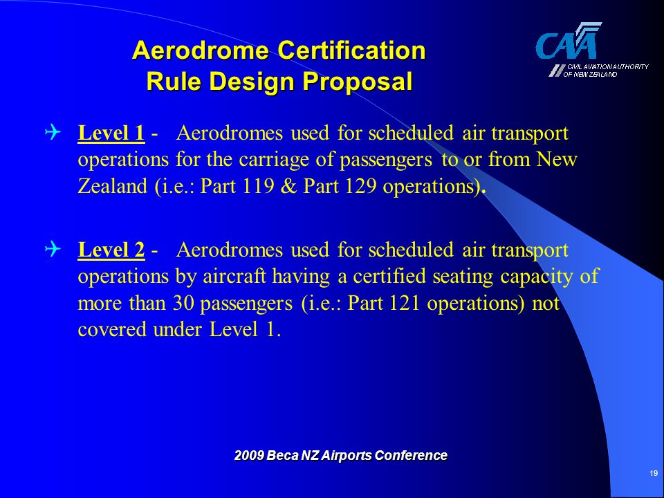 Aerodrome Certification Rule Design Proposal