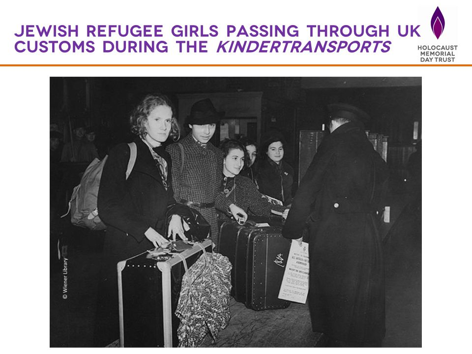 Jewish refugee girls passing through uk customs during the kindertransports