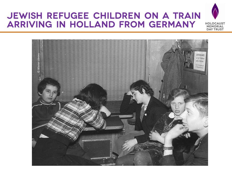 Jewish refugee children on a train arriving in Holland from Germany