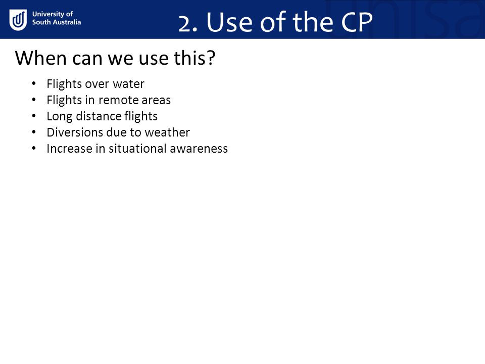 2. Use of the CP When can we use this Flights over water