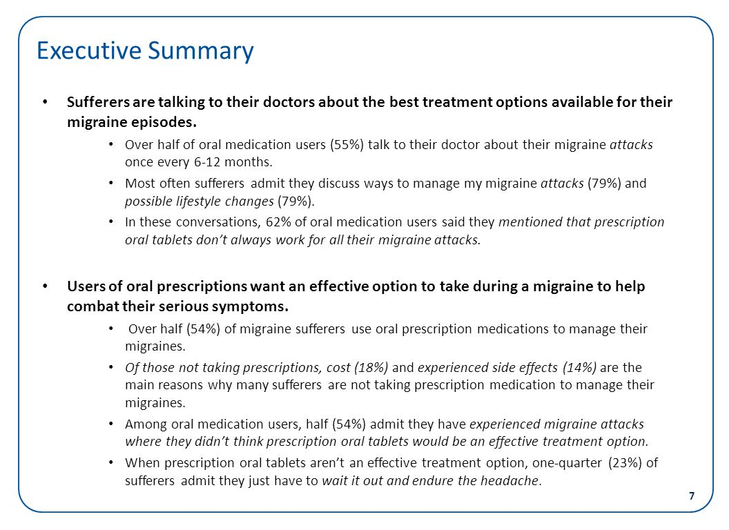Executive Summary Sufferers are talking to their doctors about the best treatment options available for their migraine episodes.