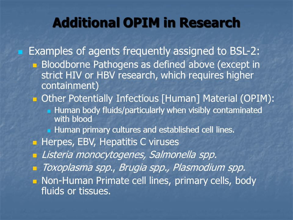 Additional OPIM in Research