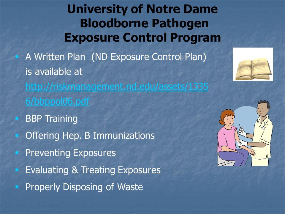 University of Notre Dame Exposure Control Program