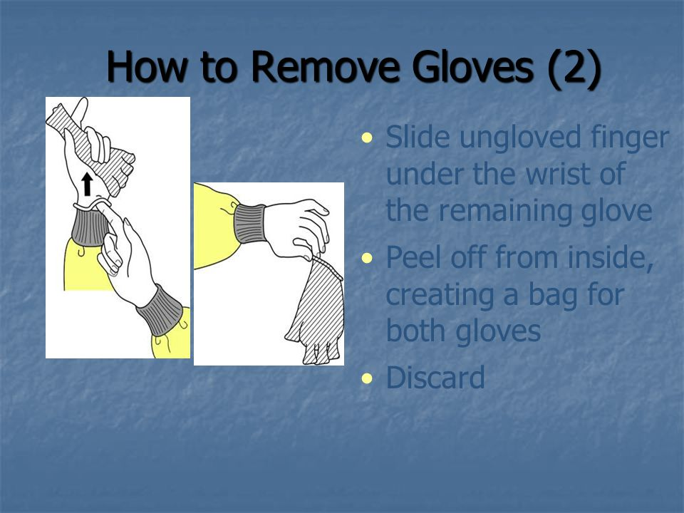 How to Remove Gloves (2) Slide ungloved finger under the wrist of the remaining glove. Peel off from inside, creating a bag for both gloves.