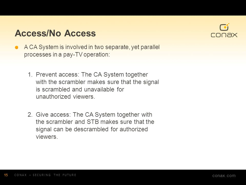 Access/No Access A CA System is involved in two separate, yet parallel processes in a pay-TV operation: