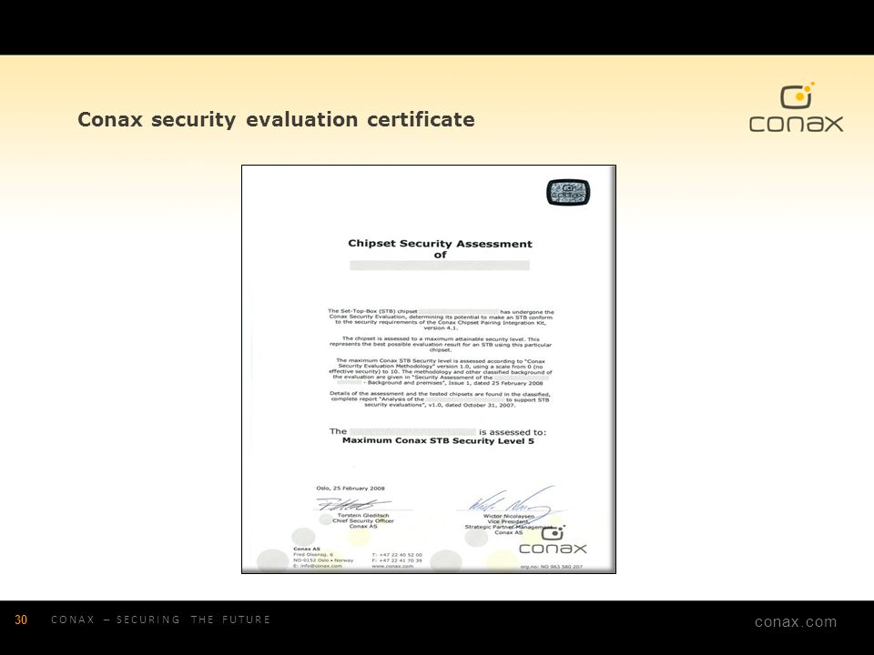Conax security evaluation certificate