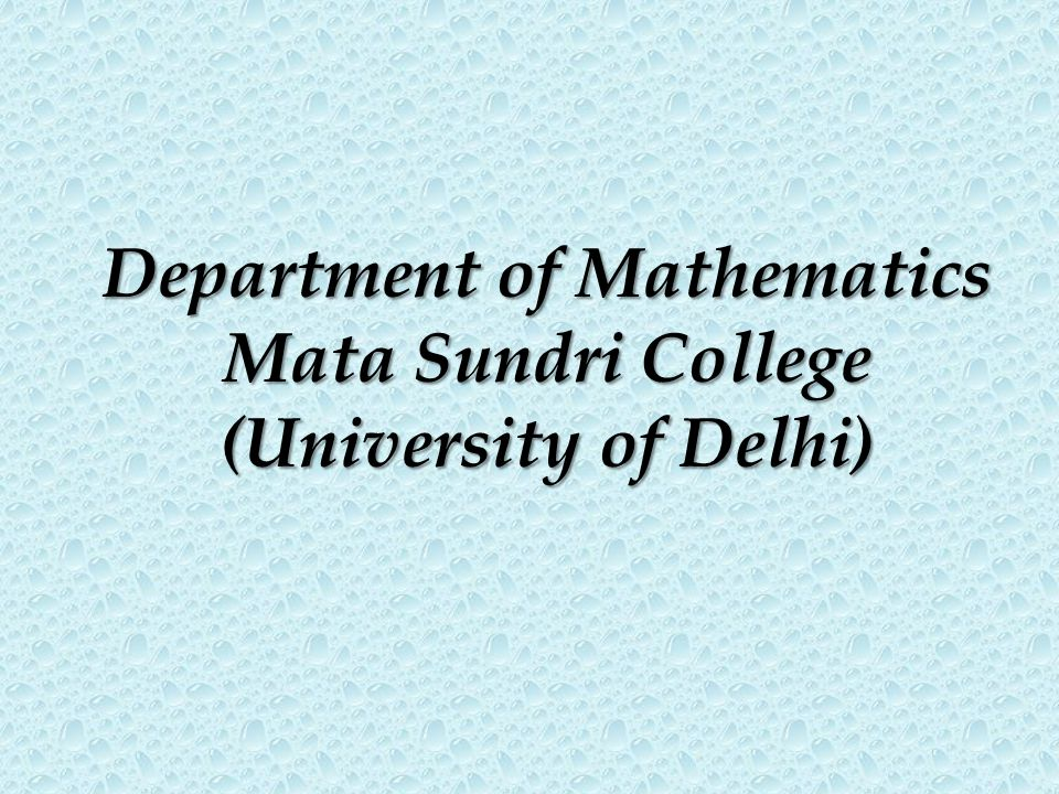Department of Mathematics
