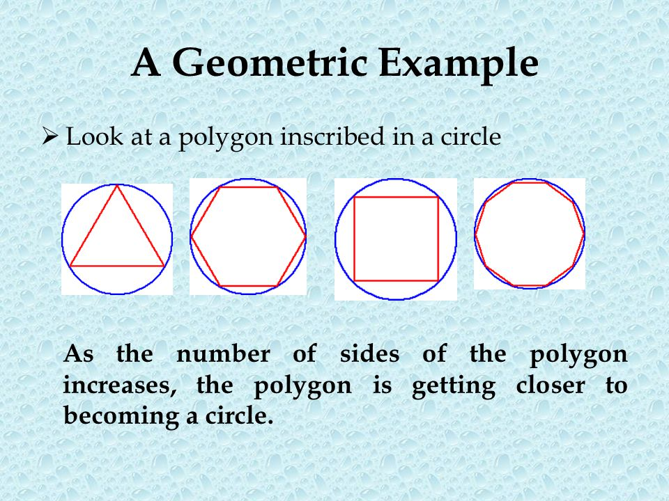 A Geometric Example Look at a polygon inscribed in a circle