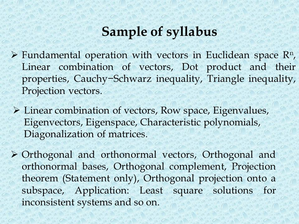 Sample of syllabus