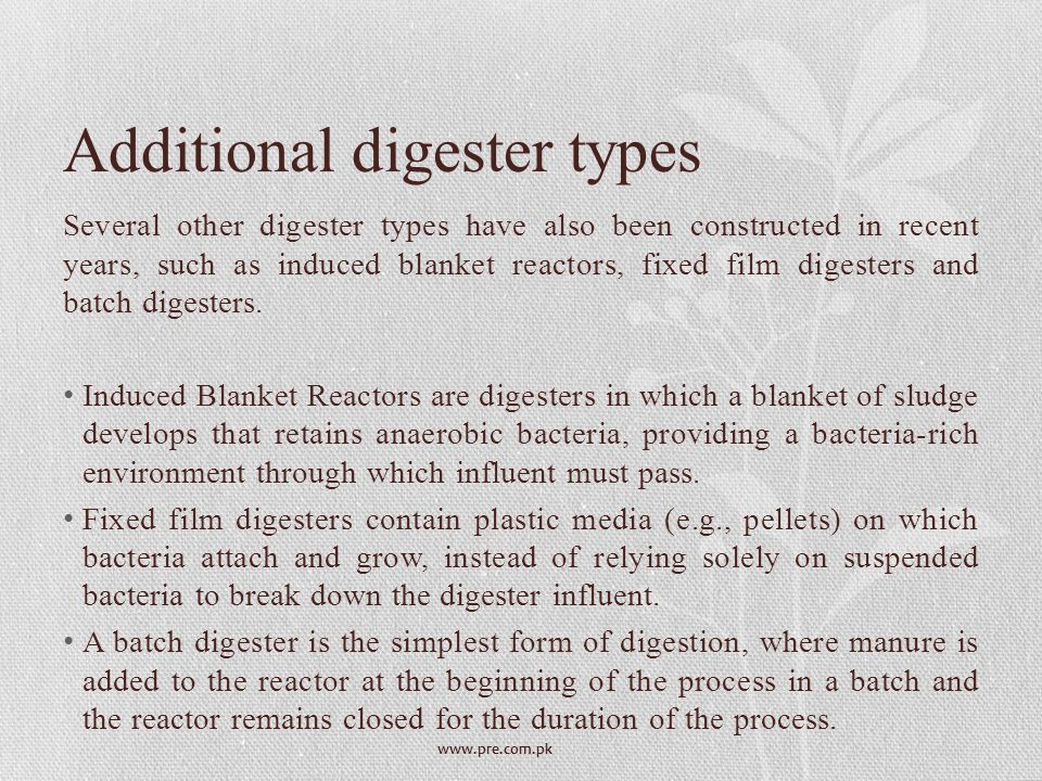 Additional digester types