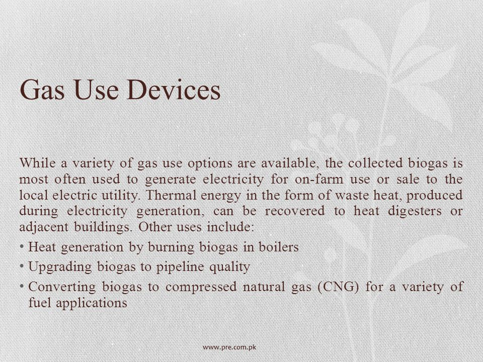 Gas Use Devices