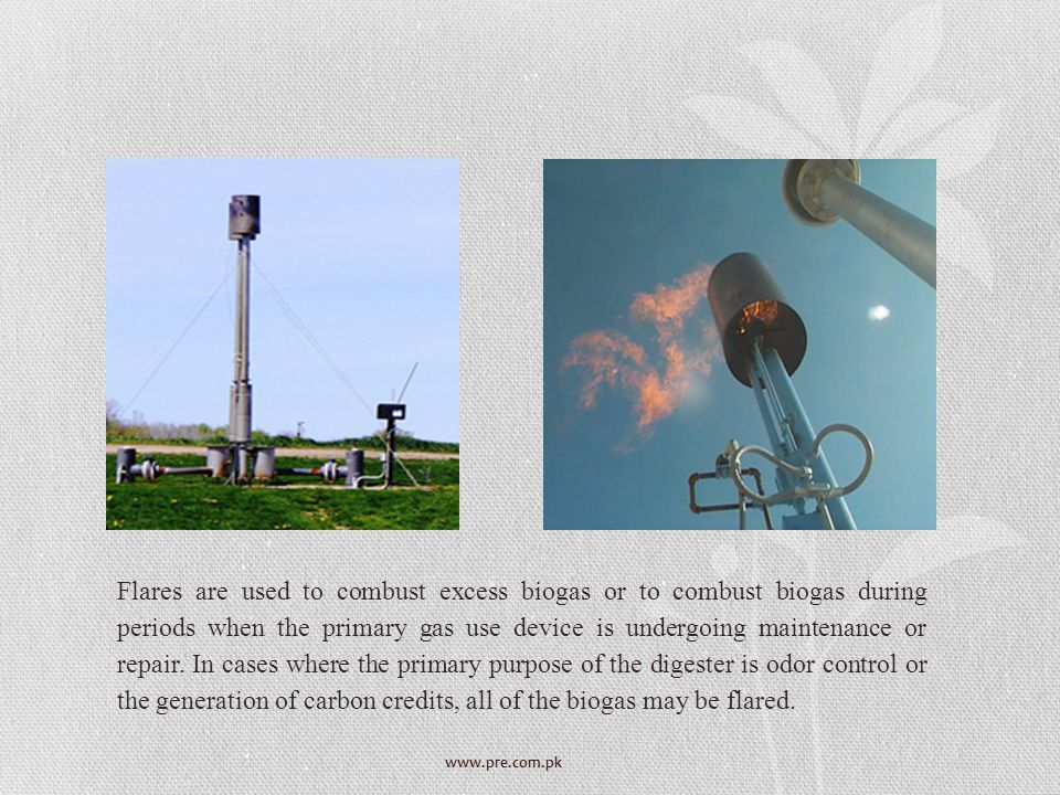 Flares are used to combust excess biogas or to combust biogas during periods when the primary gas use device is undergoing maintenance or repair. In cases where the primary purpose of the digester is odor control or the generation of carbon credits, all of the biogas may be flared.