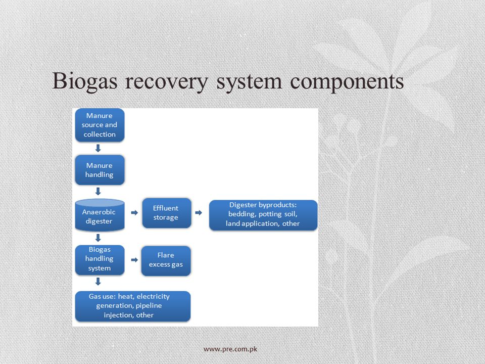 Biogas recovery system components