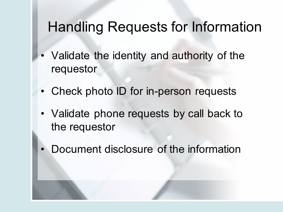 Handling Requests for Information