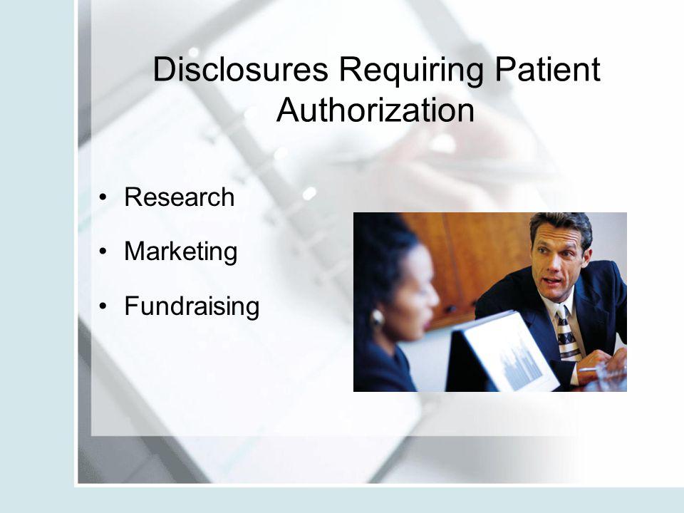 Disclosures Requiring Patient Authorization