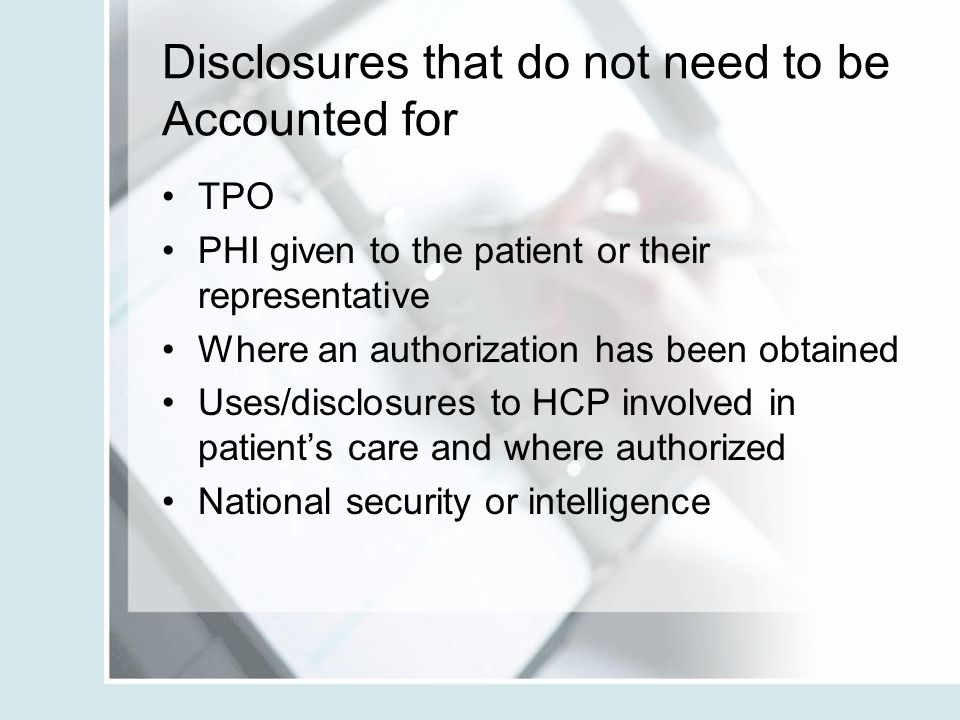 Disclosures that do not need to be Accounted for