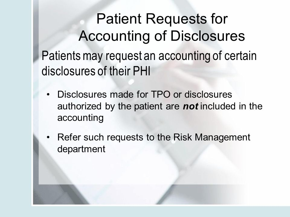 Patient Requests for Accounting of Disclosures
