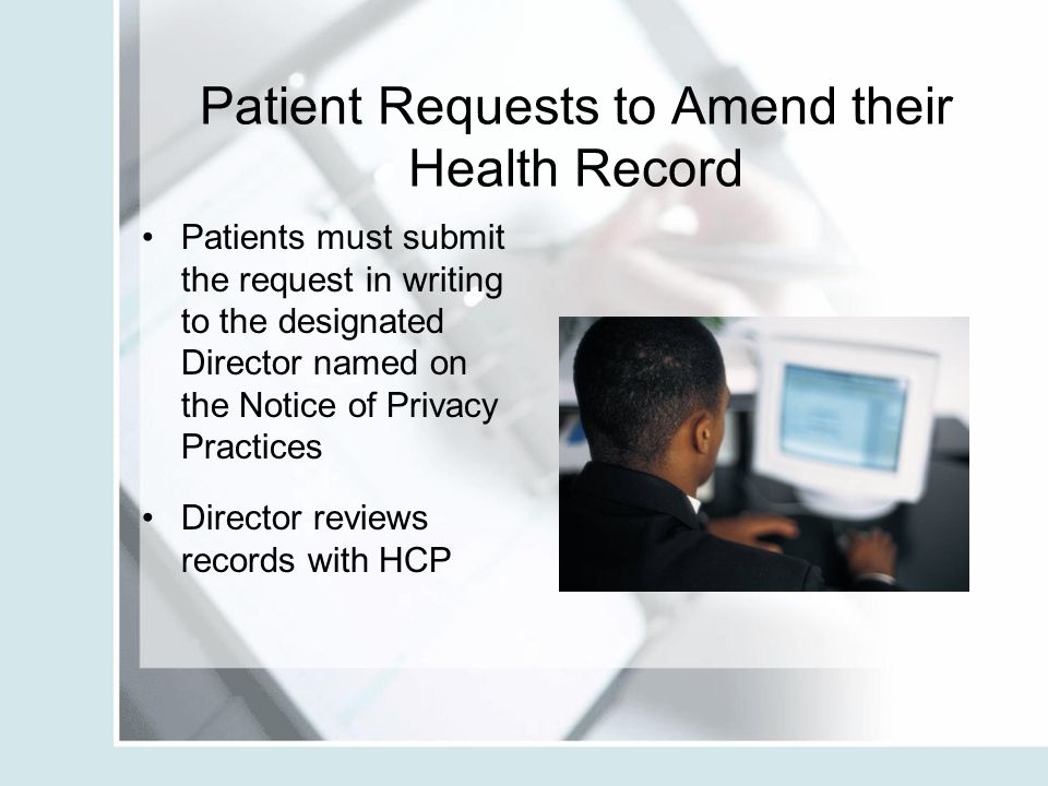 Patient Requests to Amend their Health Record