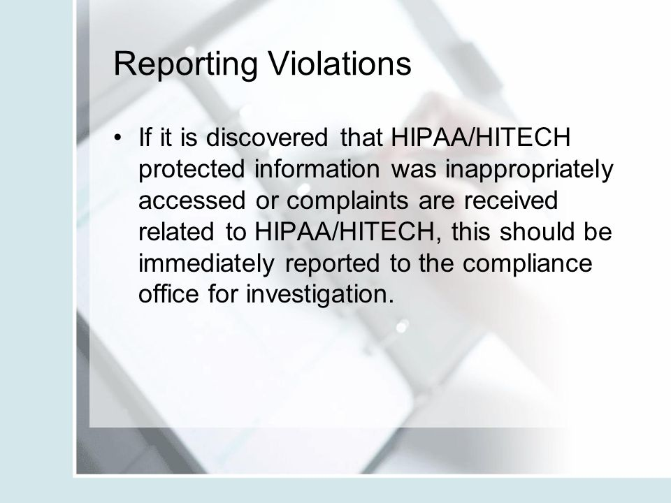 Reporting Violations