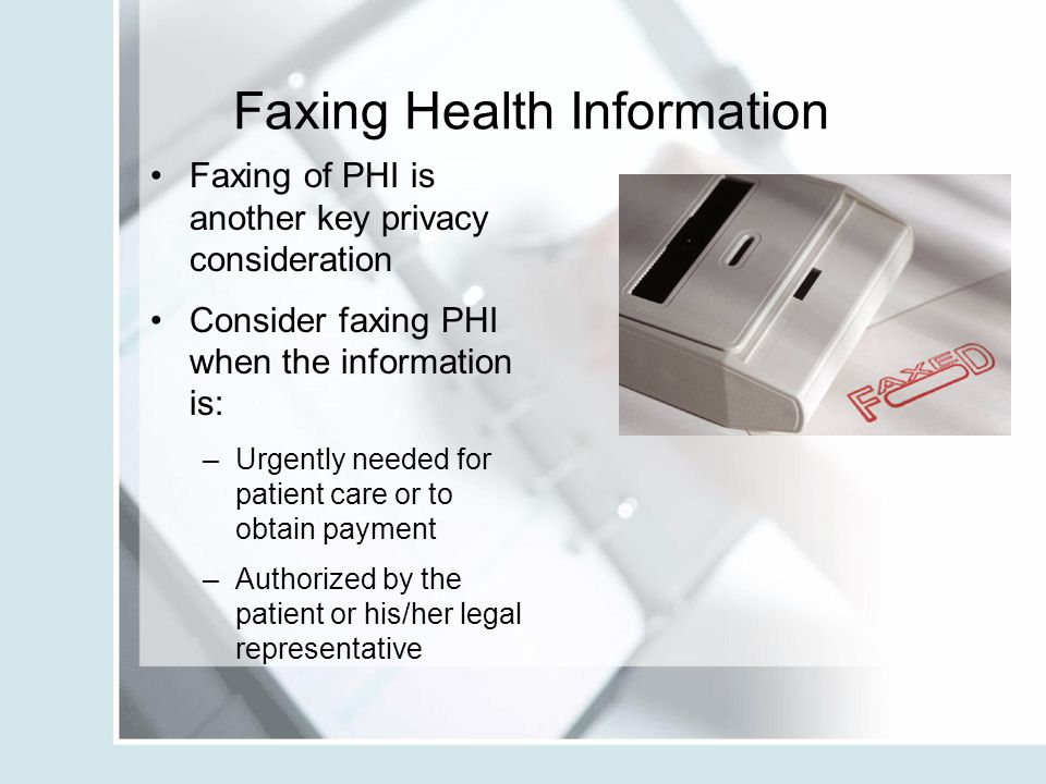 Faxing Health Information