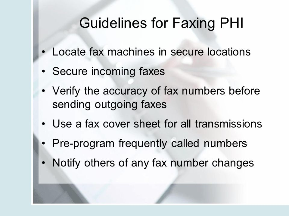 Guidelines for Faxing PHI