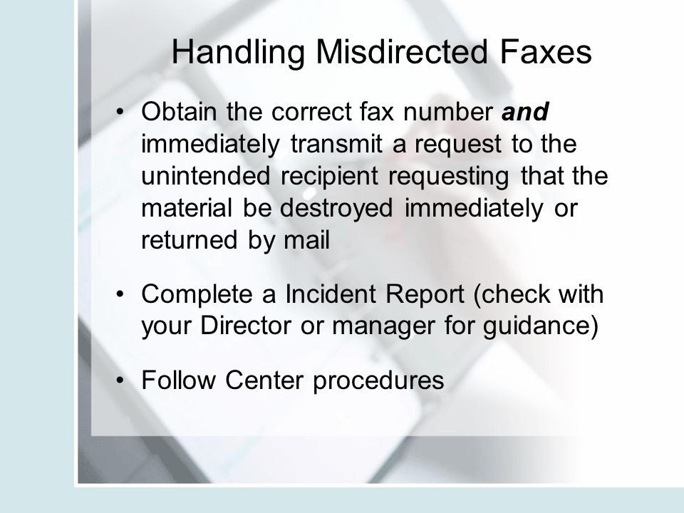 Handling Misdirected Faxes