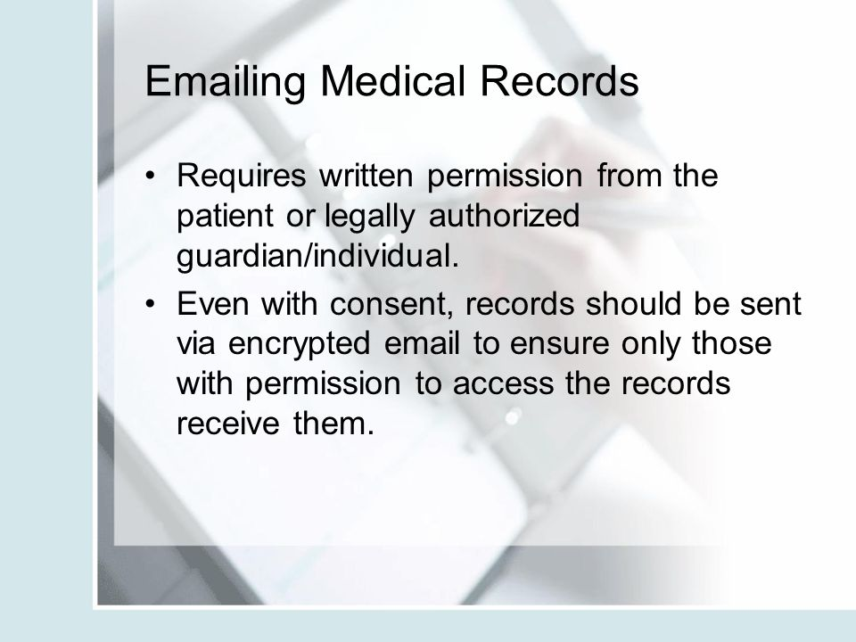 Emailing Medical Records
