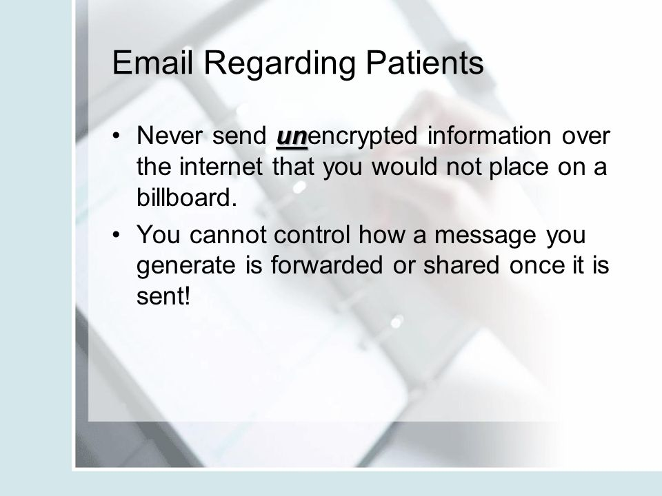 Email Regarding Patients