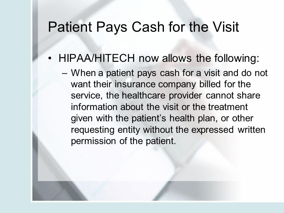 Patient Pays Cash for the Visit