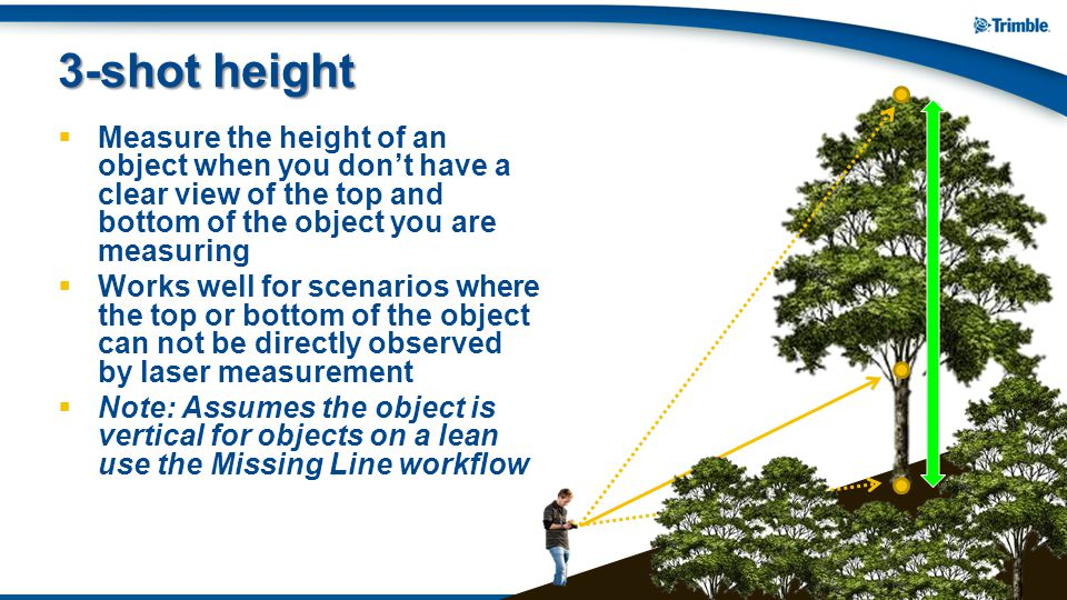 3-shot height Measure the height of an object when you don't have a clear view of the top and bottom of the object you are measuring.