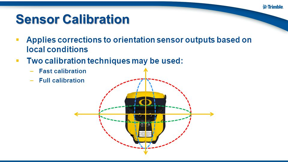 Sensor Calibration Applies corrections to orientation sensor outputs based on local conditions. Two calibration techniques may be used: