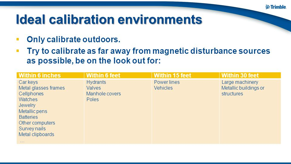 Ideal calibration environments