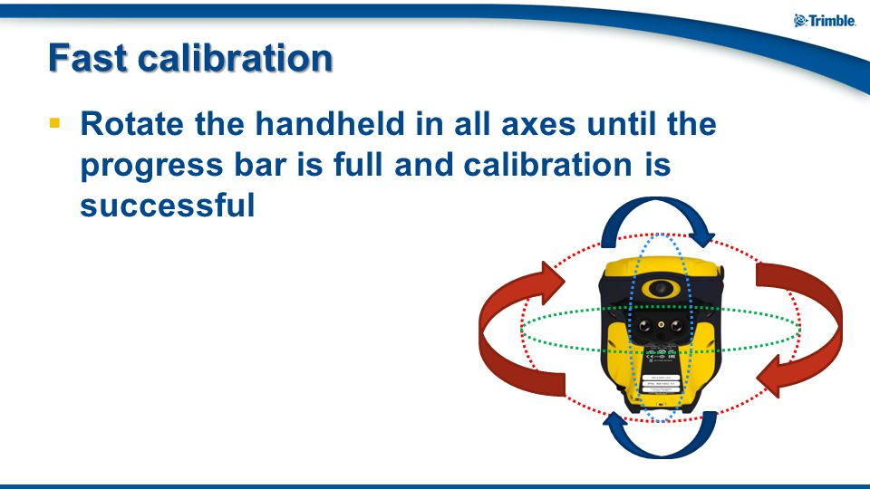 Fast calibration Rotate the handheld in all axes until the progress bar is full and calibration is successful.