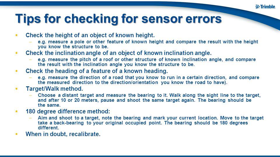 Tips for checking for sensor errors