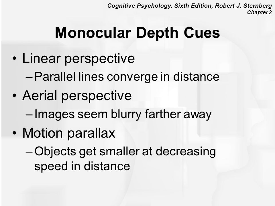 Monocular Depth Cues Linear perspective Aerial perspective